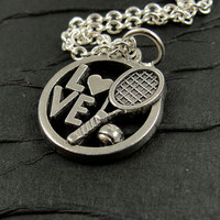 Tennis Lover Necklace - Silver Plated Charm on a 17 inch Cable Chain