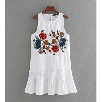 Flower Embroidery Pleated Mini Dress