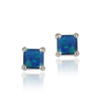 Sterling Silver 6mm Square Created Blue Opal Stud Earrings