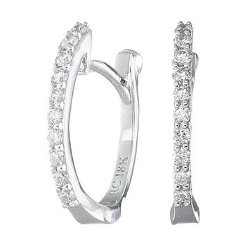 Roberto Coin Perfect Diamond Huggy Earrings White Gold - Zappos.com Free Shipping BOTH Ways