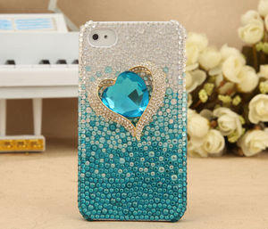 Apple iPhone 4S 4G 3GS Bling Shiny Blue Crystal Titanic Diamond Heart Back Case Cover Birthday Gift for Her - GULLEITRUSTMART.COM