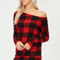 Casual Buffalo Plaid Off Shoulder Top - Red