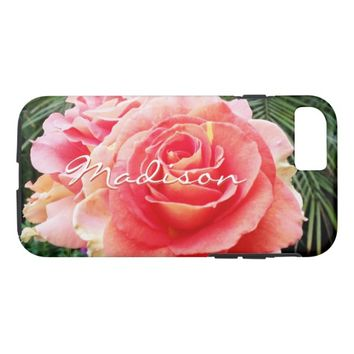 Soft pink rose photo custom name cell phone case