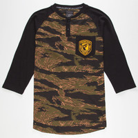 Famous Stars & Straps Tiger Camo Mens Baseball Tee Camo Green  In Sizes