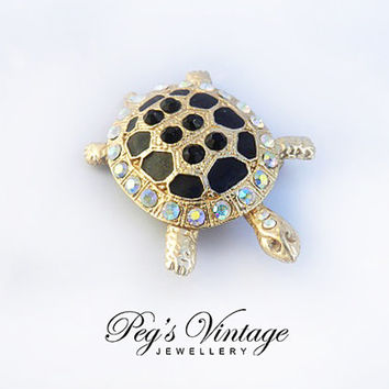 Vintage AB Rhinestone Turtle Brooch/Pin, Black Enamel Gold Tone Turtle Jewelry