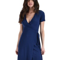 Lyss Loo Don't Tell 'Em Navy Wrap Dress
