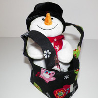 A Warm Smile Gift Set Snowflakes and Mittens Teeny Tote with Plush Snowman