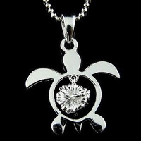 STERLING SILVER 925 HAWAIIAN HONU SEA TURTLE DANGLING HIBISCUS FLOWER PENDANT