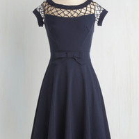 Pinup Long Cap Sleeves Fit & Flare With Only a Wink Dress in Navy