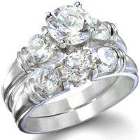 Sterling Silver Three Stone Round Cut CZ Wedding Ring Set Size 5-9