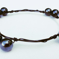 Black Wire Wrapped Bangle - Black Pearlescent Bead Bracelet - Black Wire Wrapped Bracelet - Black Bead Jewelry - Lightweight Bracelet