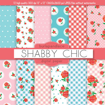 Shabby chic digital paper for scrapbook, romantic, rose, polka dots in pink, blue, white for scrapbooking, invites, cards
