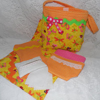 "Colorful Doll Diaper Bag Set Includes Bag, Diapers, Changing Pad, Burp Cloth, Wipes & Case for 13"" - 15"" Dolls"