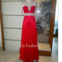 Sweetheart Neckline Red Beading Long Formal Prom Dress/Evening Gown/2014 Party Dress