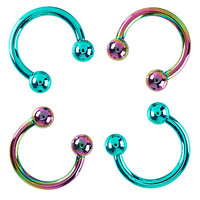 Surgical Steel Teal & Anodized Circular Barbell 4 Pack