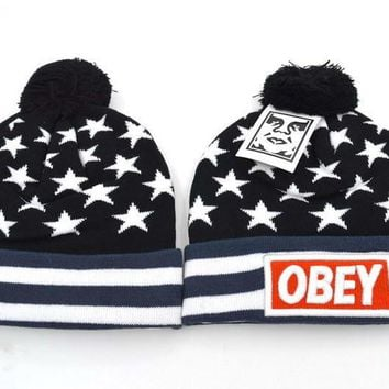 Obey Women Men Embroidery Beanies Knit Wool Hat Cap-11