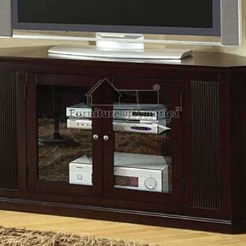 """Rockwell Espresso Wood Finish 60"""" TV Console Stand Storage Shelf and Integrated Side Shelving with 2 - Front Glass Doors"""