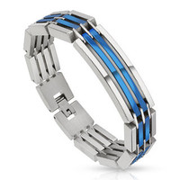 Powerhouse Blue - Heavy Linked Industrial Two Tone Blue Silver Multi Layered Stainless Steel Segmented Bracelet