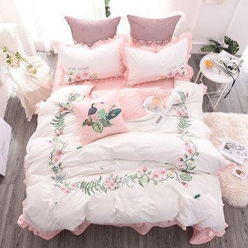 100%Cotton Embroidery White Pink Cute Bedding Set Queen King size Girls Duvet cover Bed sheet/linen set Decorative Pillowcase