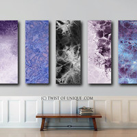 HUGE Oversized Abstract Painting / CUSTOM 5 Panel (48 Inches x 15 Inches) Large Modern Wall Art / black, white,  blue, purple, white, indigo