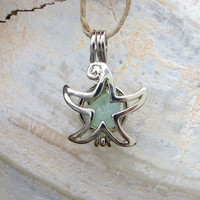 Sea Glass Silver Starfish  Locket Necklace Pendant Pale Aqua Genuine