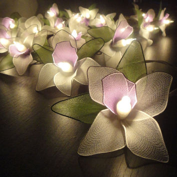 20 PurpleWhiteGreen Orchid Flower Fairy String by marwincraft