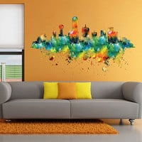 kcik1904 Full Color Wall decal Watercolor Dallas city Skyline living room bedroom