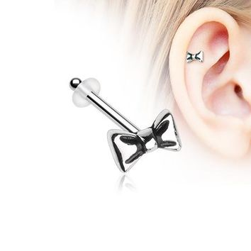 Adorable Dainty Bow-Tie Piercing Stud with O-Rings