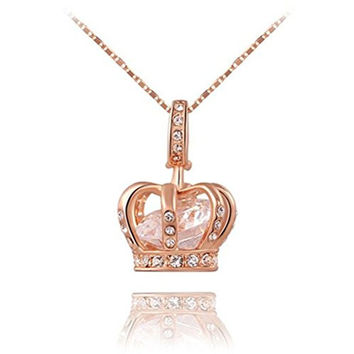 Jewelry Womens Queen Crown Pendant Necklace 3 Lays Rose Gold/Platinum Plated With Austrain Crystals