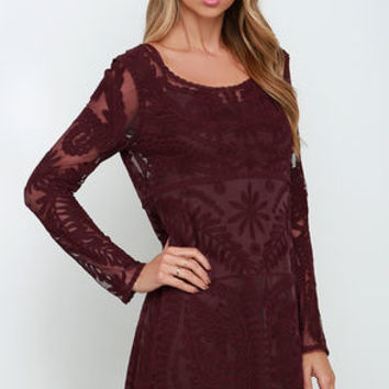 Black Swan Heidi Burgundy Lace Long Sleeve Dress