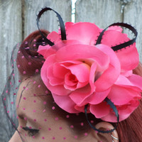 Rockabilly, Psychobilly, Pin Up Girl, Burlesque, Bridal, Wedding, Pink, Rose, Veil, Hair Clip, Fascinator