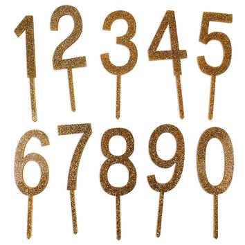 Gold Glitter Numbers Topper Set