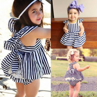 Newborn Baby Girls Stripe Backless Dress Briefs Outfit Summer Sunsuit Clothes
