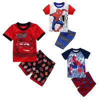 Summer Baby Kids Boys Spider-man T-shirt and Shorts 2pcs Clothes Set Home Wear Pajams Set