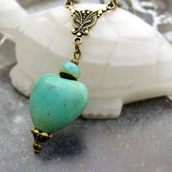 Valentine necklace Mint green heart necklace Heart jewelry