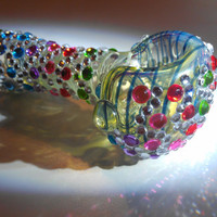 Rainbow polka dot and silver wave bedazzled pipe