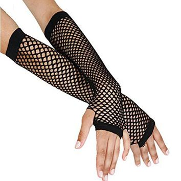 Stylish Delicate Long Black Fishnet Gloves Womens Fingerless Gloves Girls Dance Gothic Punk Rock Costume Fancy Party Hot