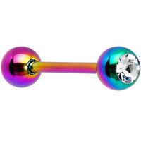 14 Gauge Gem Rainbow Anodized Titanium Barbell Tongue Ring | Body Candy Body Jewelry