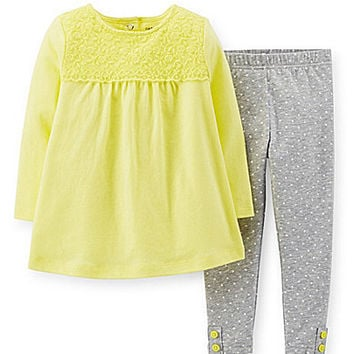 Carter's Newborn-24 Months Lace-Accented Top & Printed Legging Set - Y