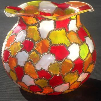 Hand Painted Colorful Stained Glass Vase with by BodegaMarket