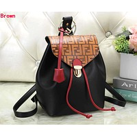 FENDI Newest Fashionable Women Casual Daypack School Bag Leather Backpack Brown