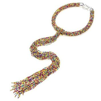 "20"" multi seed bead boho collar necklace 17.25"" drop tassel fringe"