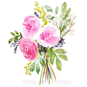 "Pink roses art print. Girls bedroom art. wall prints PDF, feminine wall decor. Watercolor flower bouquet. Printable Art. 8""x10"" Pink rose"
