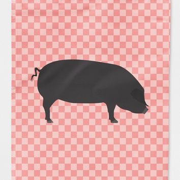 Devon Large Black Pig Pink Check Flag Canvas House Size BB7931CHF