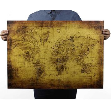 Vintage Retro Matte Kraft Paper World Map Antique Poster Wall Sticker, vintage posters, Paper crafts 51*72CM