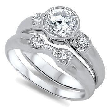 Round Bezel Set Solitaire Cubic Zirconia CZ Bridal Wedding Engagement Ring Set Sterling Silver 1.25 Carats