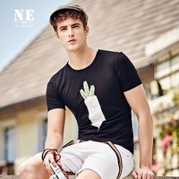 Summer Strong Character Print Stylish Round-neck Short Sleeve Slim England Style T-shirts [7951248323]