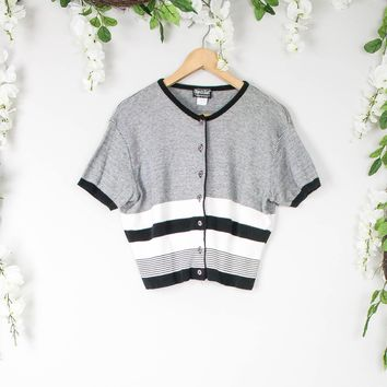 Vintage Black And White Knit Blouse