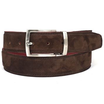 PAUL PARKMAN Men's Brown Suede Belt