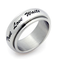 True Love Waits Spinner Stainless Steel Purity Ring 6-9